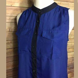 J.Crew Blue Sleeveless Button Down Blouse